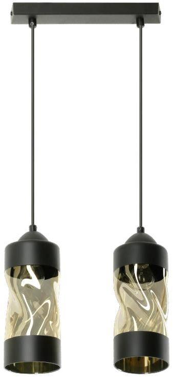 Lampex Debora 2 785/2 lampa wisząca klosz szklany metalowa oprawa czarna E27 2x60W 30cm