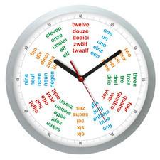 Zegar ścienny srebrny języki świata