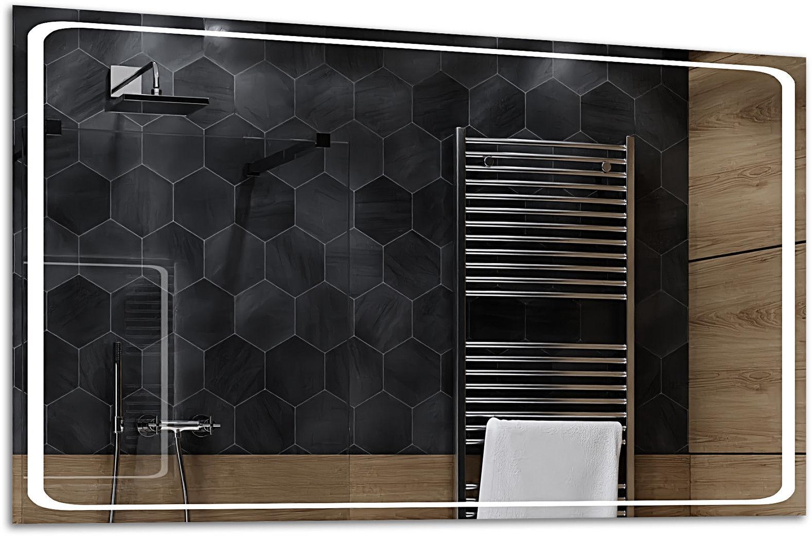 Alasta Lustro Łazienkowe z Podświetleniem LED - rozmiar 80x60cm - zimny kolor LED - Model Barcelona
