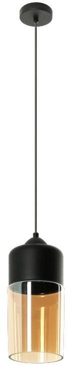 Lampex Koral 1 787/1 lampa wisząca czarna nowoczesna klosz szklany bursztynowy E27 1x60W 13cm