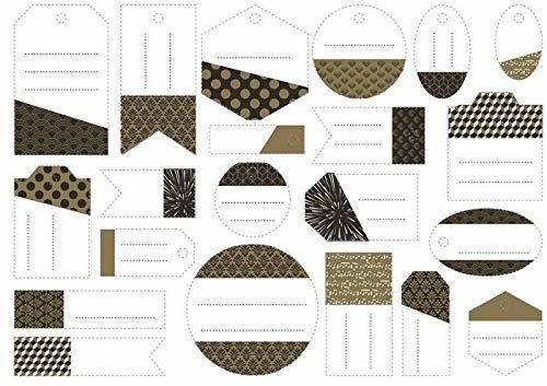 Artemio 14030074 etykiety na prezenty, papier, złote, 12,5 x 1 x 15,5 cm