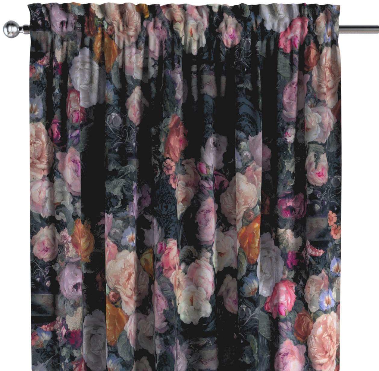 Zasłona na kanale z grzywką 1 szt., wielobarwne kwiaty na ciemnym tle, 1szt 130  260 cm, Gardenia