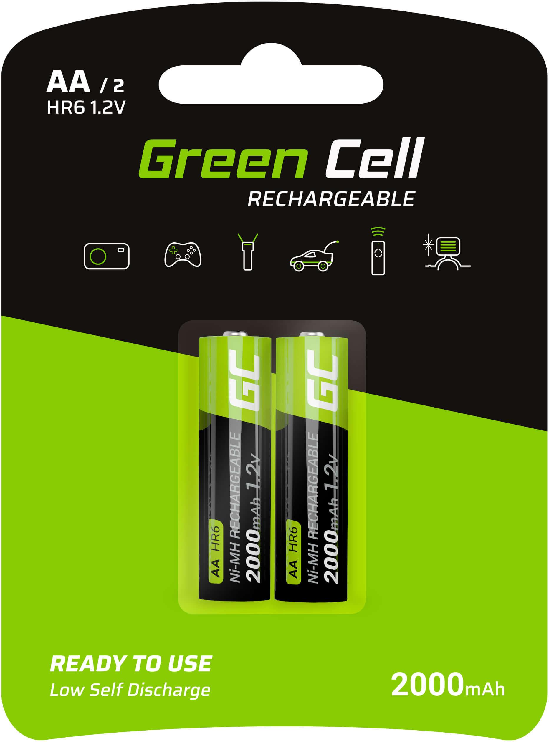 Baterie Akumulatorki Paluszki 2x AA HR6 2000mAh Green Cell