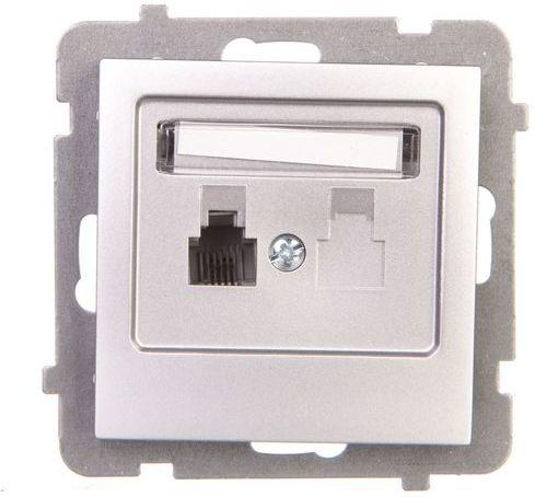 AS Gniazdo telefoniczne pojedyncze RJ11 srebro GPT-1G/m/18