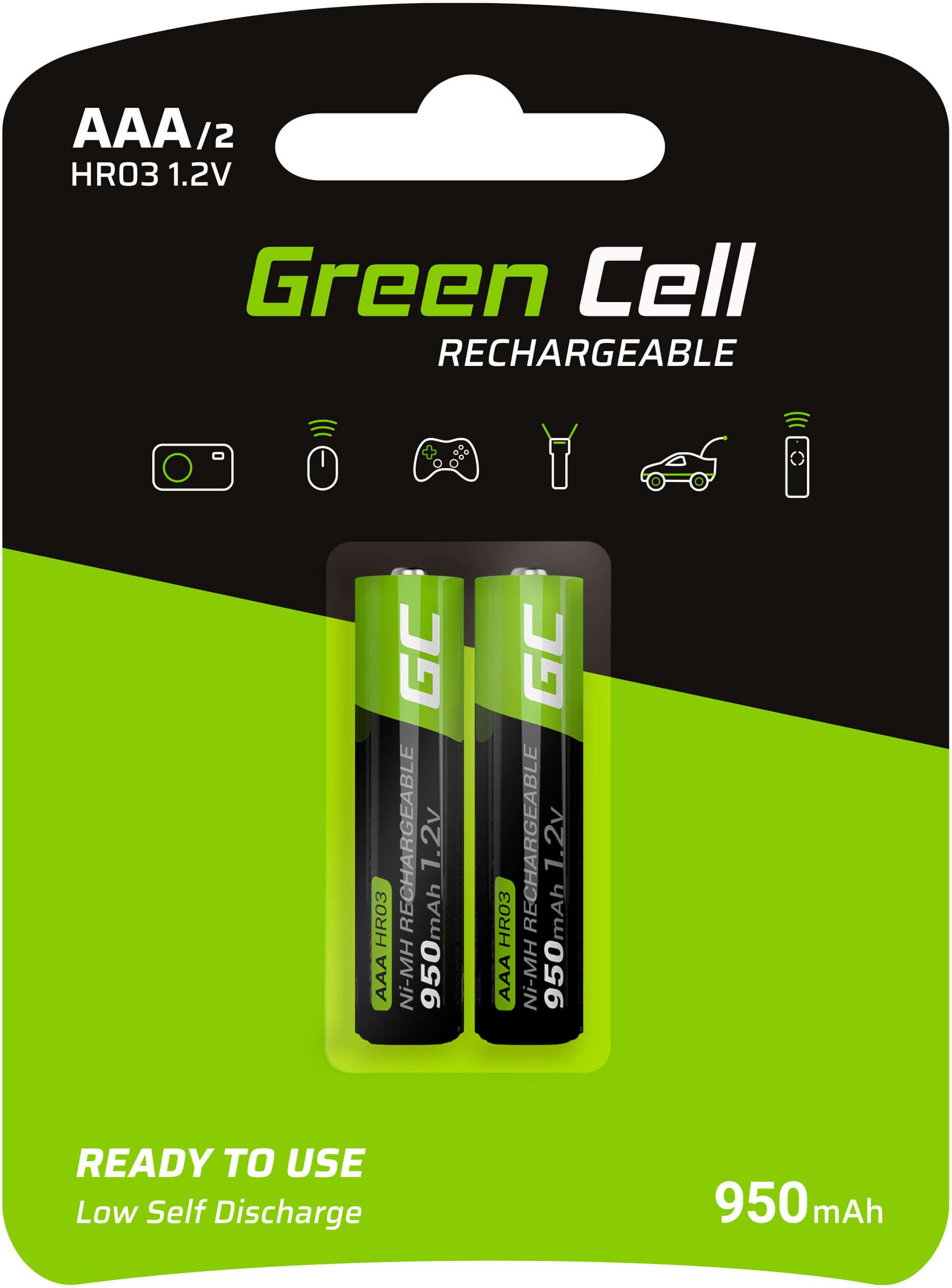 Green Cell Baterie Akumulatorki Paluszki 2x AAA HR03 950mAh