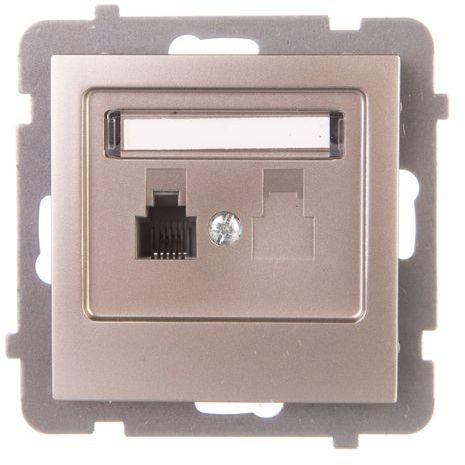 AS Gniazdo telefoniczne pojedyncze RJ11 satyna light GPT-1G/m/45