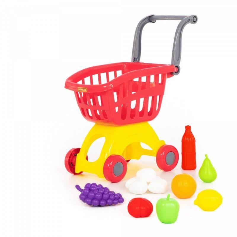 Wózek do sklepu z zestawem zakupów