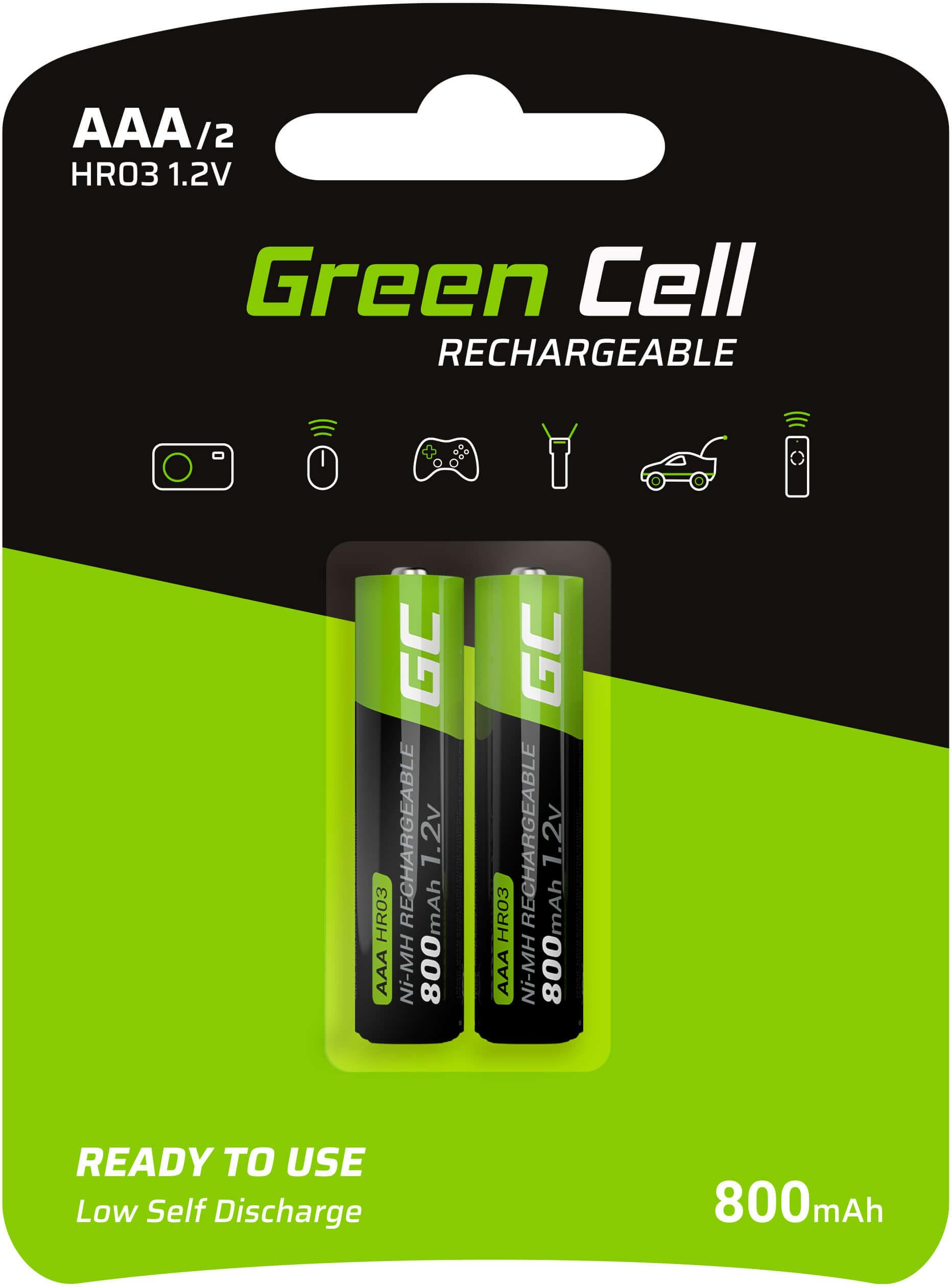 Green Cell Baterie Akumulatorki Paluszki 2x AAA HR03 800mAh