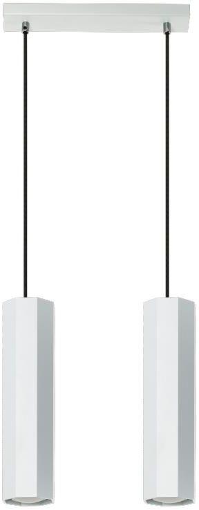 Lampex Astral 2 792/2 BIA lampa wisząca nowoczesna ośmiokątne klosze biały metal 2x40W GU10 30cm