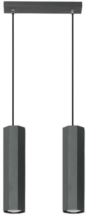 Lampex Astral 2 792/2 CZA lampa wisząca nowoczesna czarny metal ośmiokątny klosz 2x40W GU10 30cm