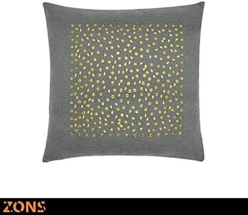 Poduszka z nitami motyw kwadratowa złota 45 x 45 cm + wypełnienie 480 g poduszka samochodowa na sofę poduszka (ciemnoszara)
