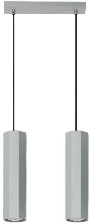 Lampex Astral 2 792/2 POP lampa wisząca nowoczesna popielata ośmiokątne klosze 2x40W GU10 30cm
