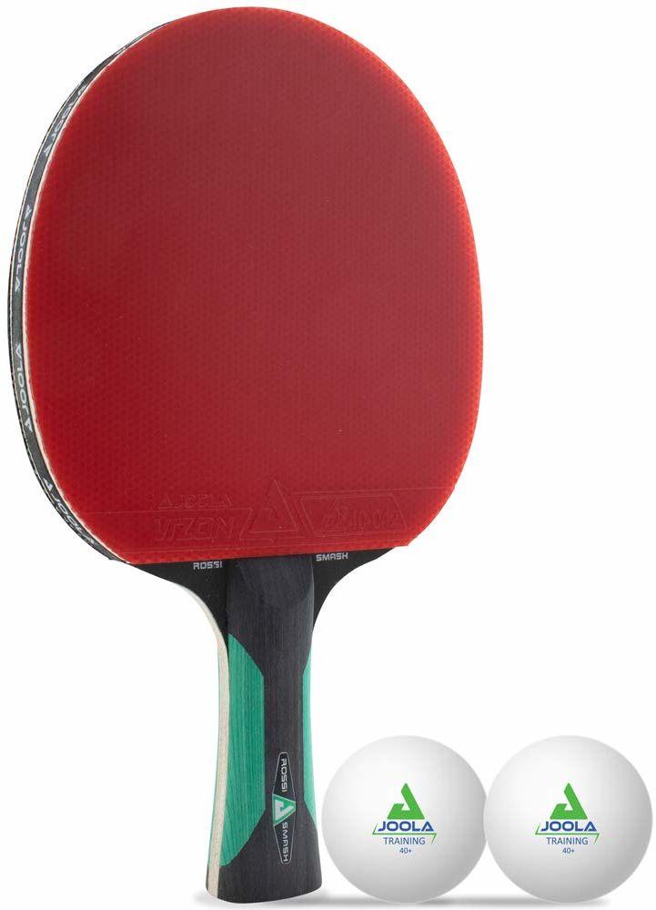 JOOLA ROSSKOPF SMASH rakieta do tenisa stołowego z 2 piłkami do tenisa stołowego z dopuszczeniem ITTF, gąbka 1,8 mm