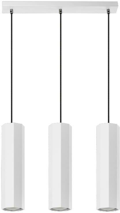 Lampex Astral 3 792/3 BIA lampa wisząca nowoczesna biały metal ośmiokątne klosze 3x40W GU10 45cm