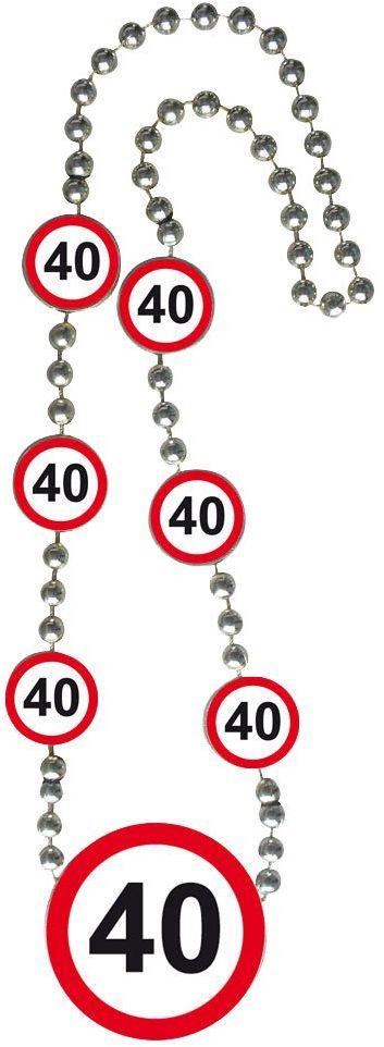Znak drogowy 40-ty naszyjnik, naszyjnik z symbolami wiekowymi w znaku przystanku drogowym