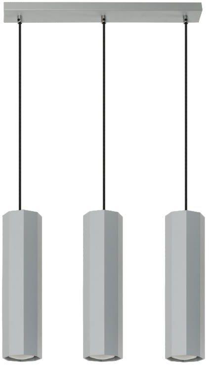 Lampex Astral 3 792/3 POP lampa wisząca nowoczesna popielata meta ośmiokątne klosze 3xGU10 45cm
