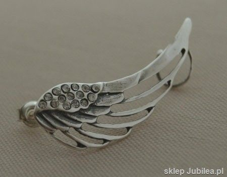 Srebrny kolczyk - nausznica skrzydło