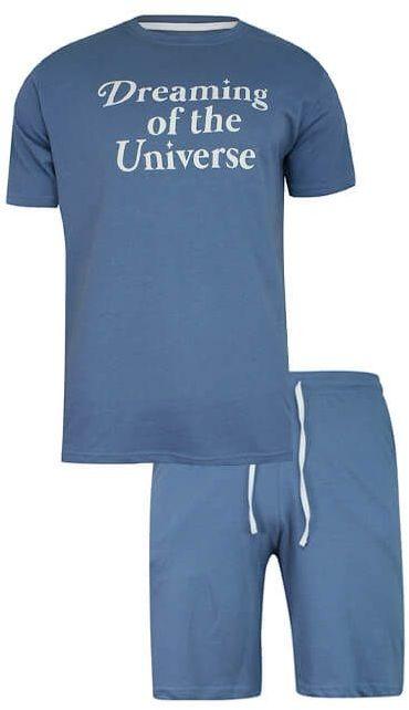 Piżama Męska, Niebieska, Dwuczęściowa, Bawełniana, Koszulka Krótki Rękaw, Krótkie Spodnie PIZBRSSS21UNIVERSEblue