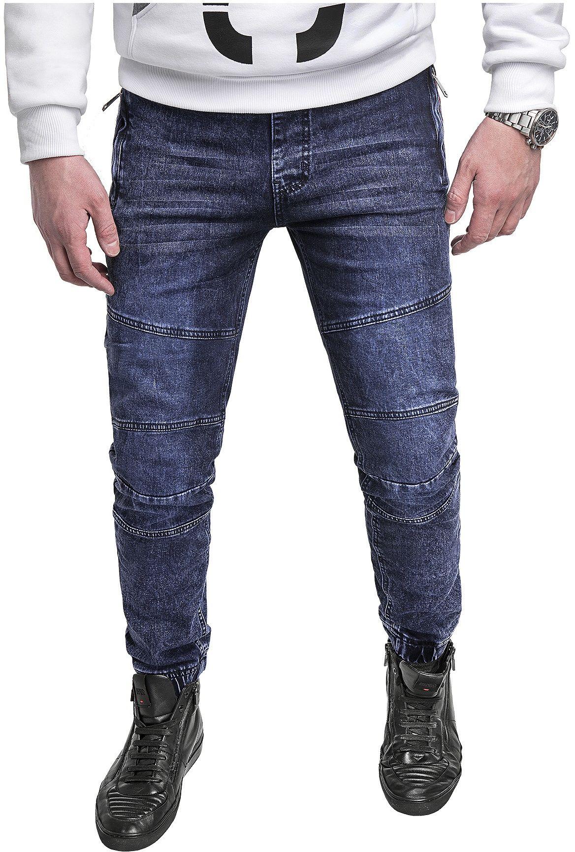 Spodnie jeansowe męskie joggery HY-559- niebieskie