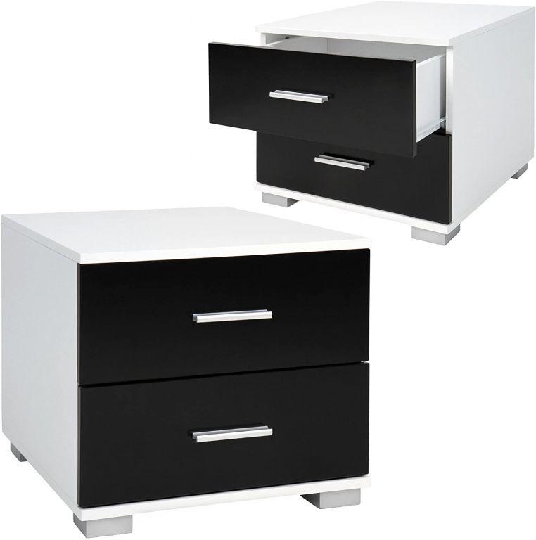 2x stolik nocny MIADOMODO - 40x40x35 cm, czarno-biały