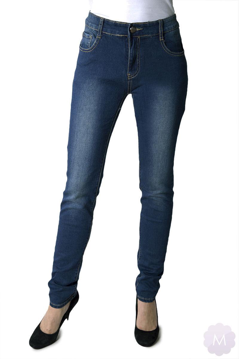 Spodnie jeansy rurki granatowe z wyższym stanem PUSH-UP (M6162)