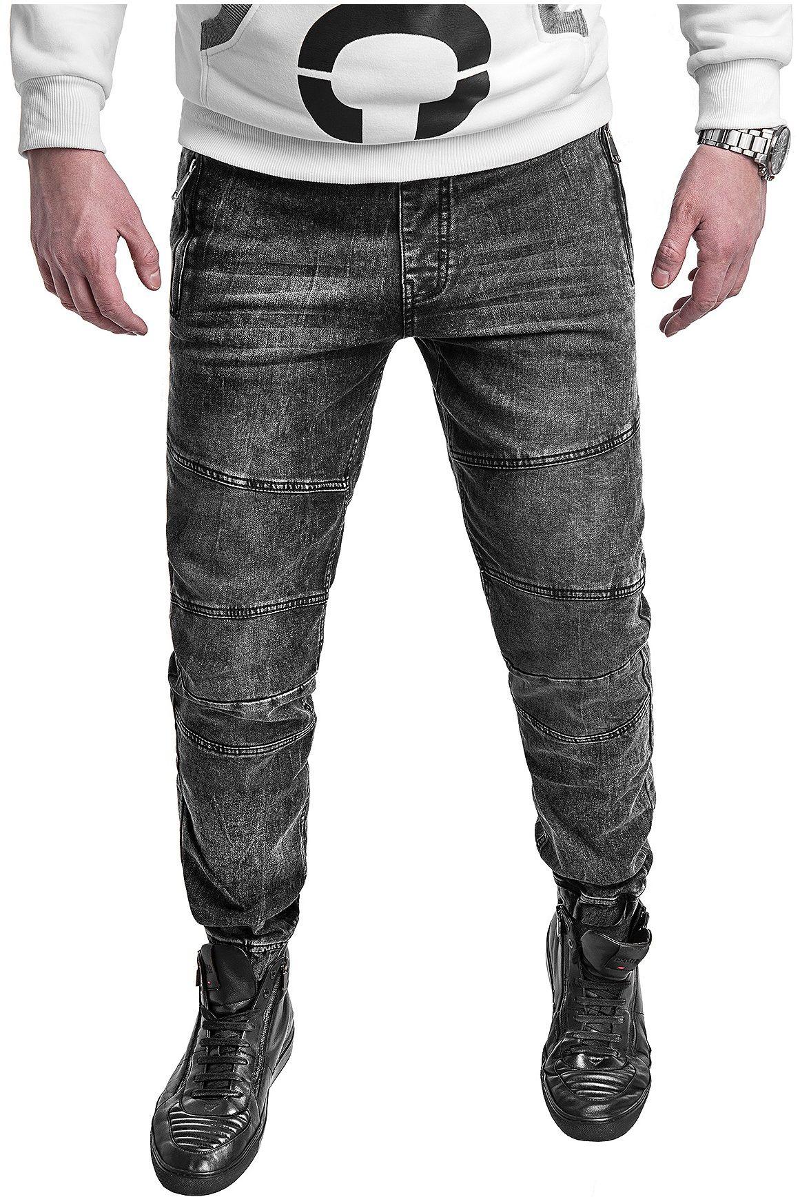 Spodnie jeansowe męskie joggery HY-559- czarne