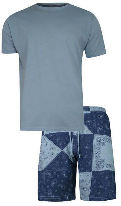 Piżama Męska, Niebiesko-Granatowa Dwuczęściowa, Bawełniana, Koszulka Krótki Rękaw, Krótkie Spodnie PIZBRSSS21BLESSINGblue