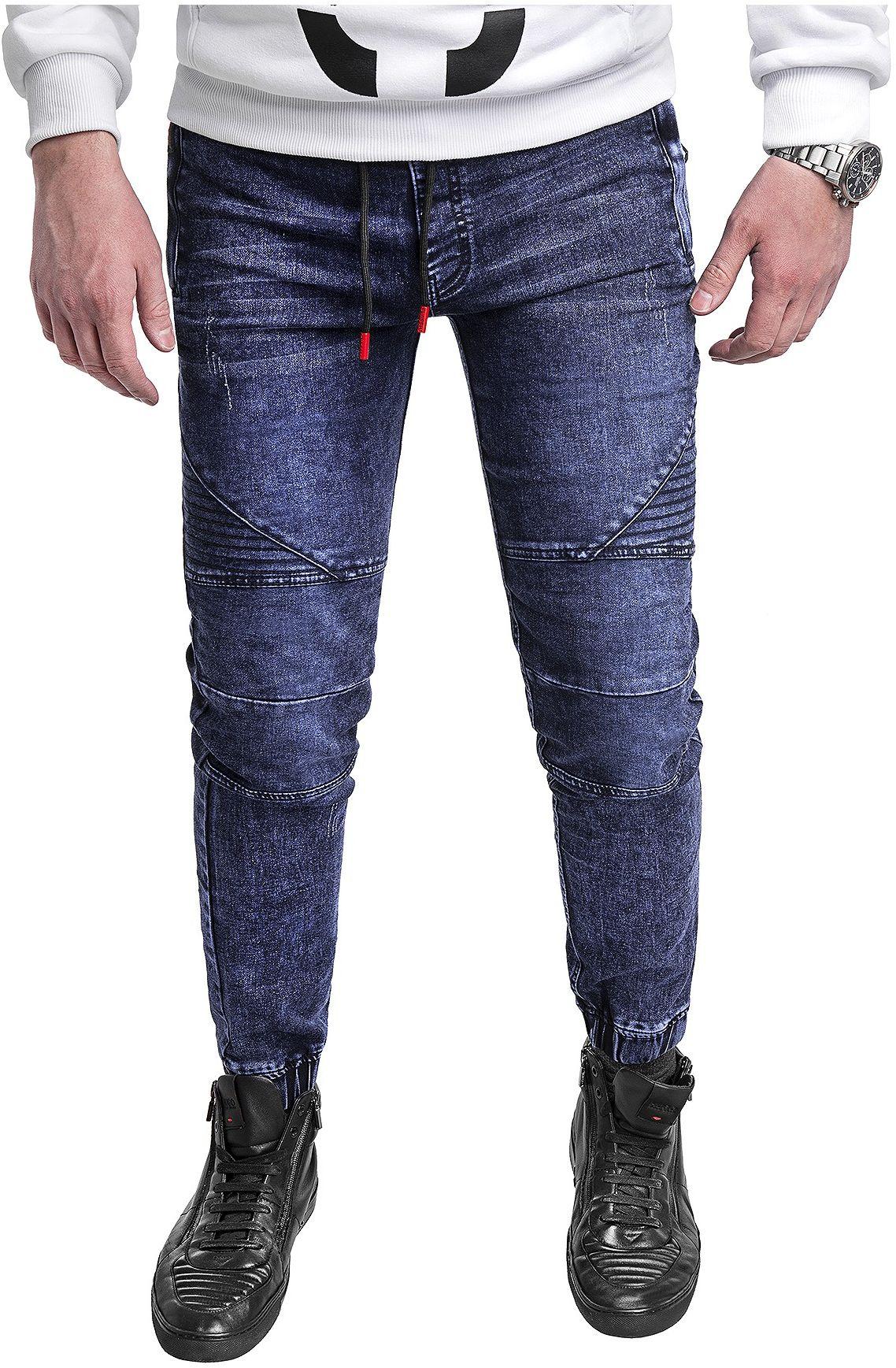 Spodnie jeansowe męskie joggery HY621 - niebieskie