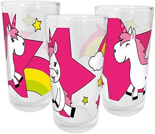 infinite by GEDA LABELS Jednorożec Kids 200 ml, 3-częściowy zestaw szklanek do picia, szklanych, wielobarwnych, 6,5 x 6,5 x 12,5 cm, 3 sztuki