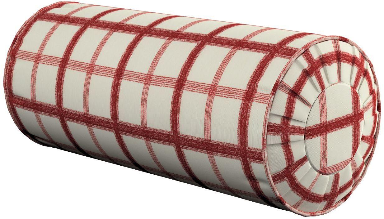 Poduszka wałek z zakładkami, ecru tło, czerwona kratka, Ø20  50 cm, Avinon