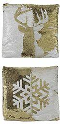 Edelman 8718861654639 poduszka z cekinami, dwustronna, z motywem bożonarodzeniowym