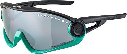 ALPINA Unisex - Dorośli, 5W1NG Okulary sportowe, turquoise-black matt/black, One Size