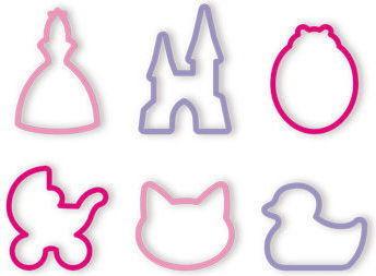 Zestaw 6 Foremek do Wykrawania Ciasteczek Pierniczków na Krążku dla Dzieci Dziewczynek Tescoma