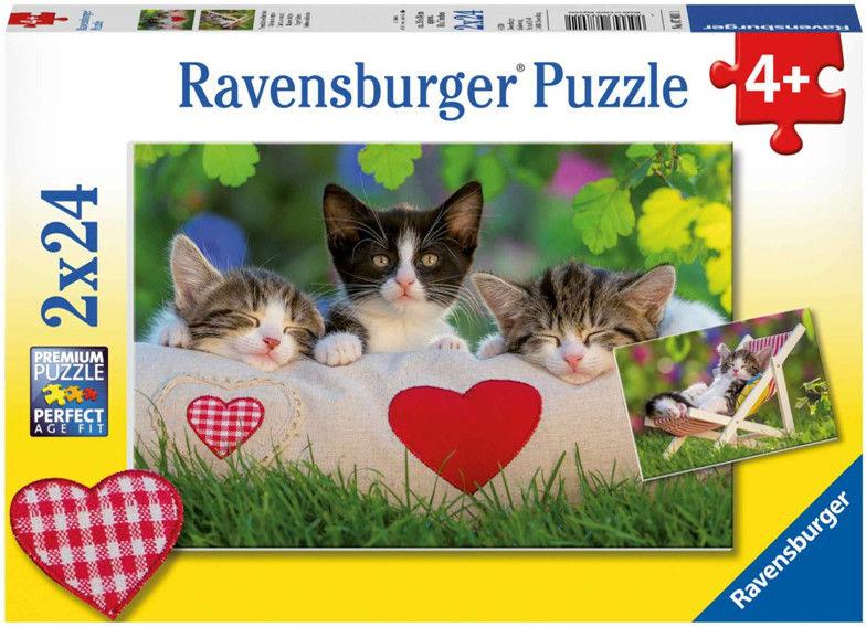 Ravensburger - Śpiące kocięta puzzle 2x24 elem. 078011