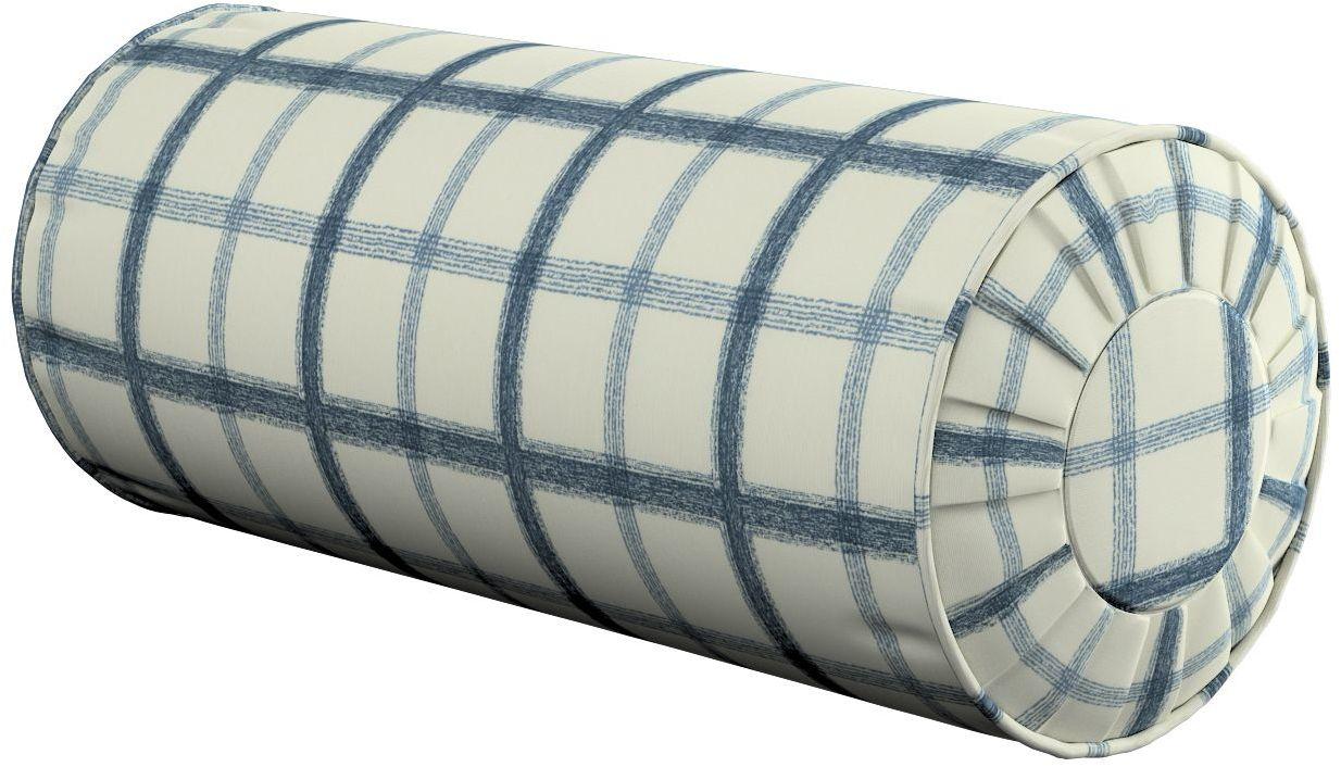 Poduszka wałek z zakładkami, ecru tło, niebieska kratka, Ø20  50 cm, Avinon