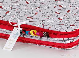MAMO-TATO Kocyk Minky dla niemowląt i dzieci 75x100 Bociany / czerwony
