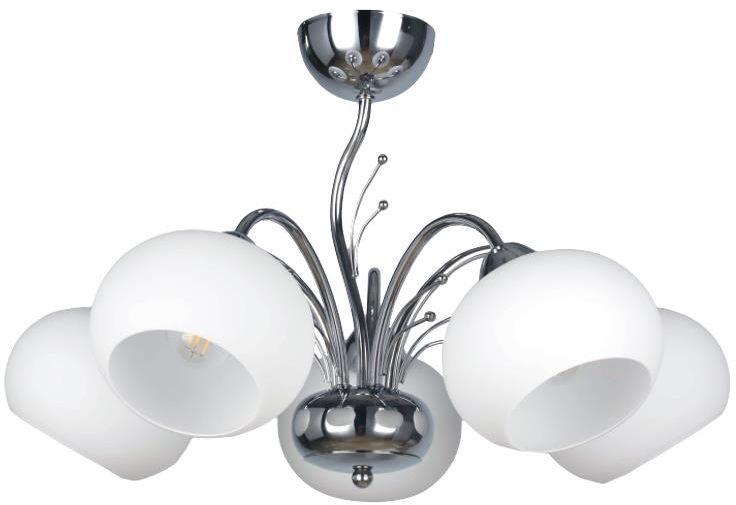Lampex Zora 5 822/5 plafon lampa sufitowa kuliste białe klosze w połączeniu ze srebrnym korpusem E27 5x 60W 51cm