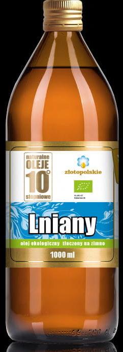 Olej lniany tłoczony na zimno bio 1000 ml - złoto polskie