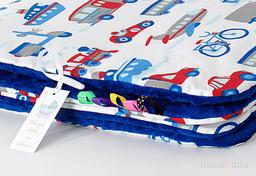 MAMO-TATO Kocyk Minky dla niemowląt i dzieci 75x100 Auta z rowerami / granatowy