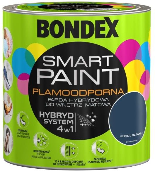Farba hybrydowa Bondex Smart Paint w sercu oceanu 2,5 l