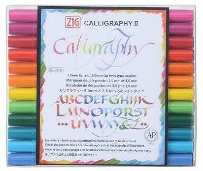 Pisaki Dwukońcówkowe do Kaligrafii ZIG Calligraphy II Komplet 12 szt.