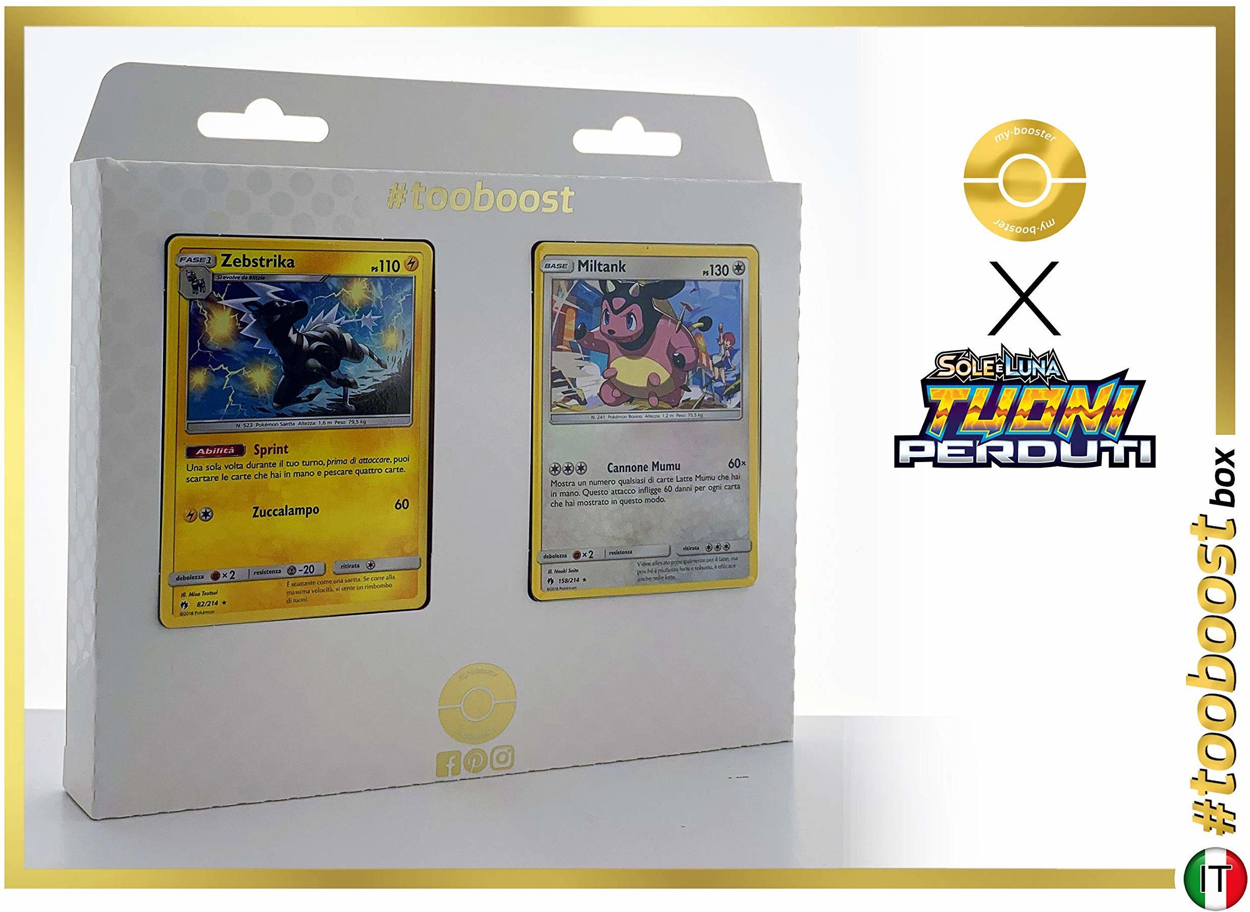 Zebstrika (Zebritz) 82/214 & Miltank 158/214  #tooboost X Sole E & Luna 8 Tuoni Perduti Box z 10 włoskimi kartami Pokémon + 1 Pokémon-Goodie