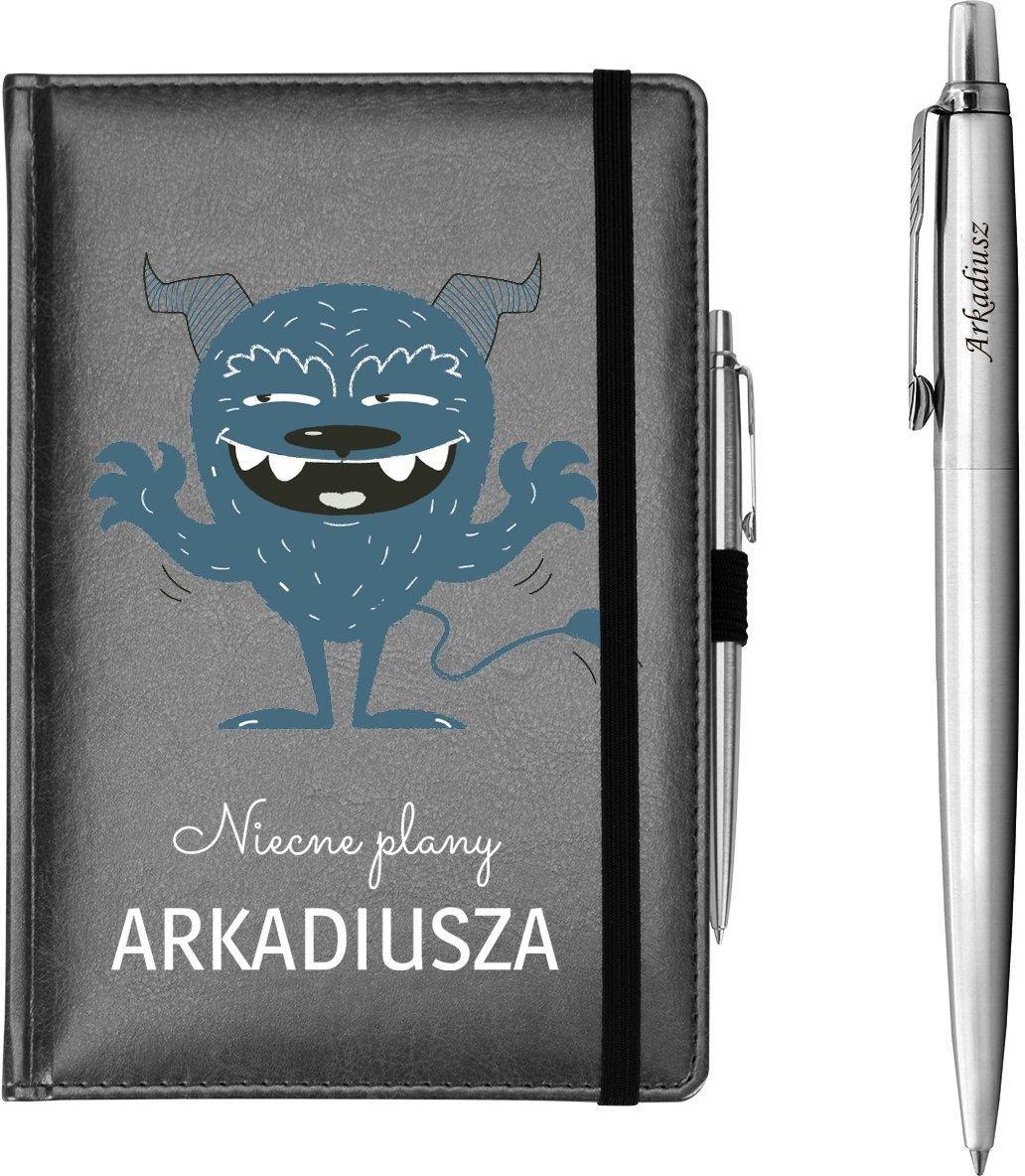 Zestaw notes reklamowy z długopisem A5 Nebraska Szary z Nadrukiem