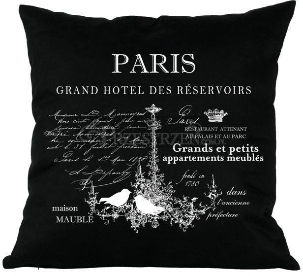 PODUSZKA OZDOBNA FRENCH HOME - PARIS CZERŃ