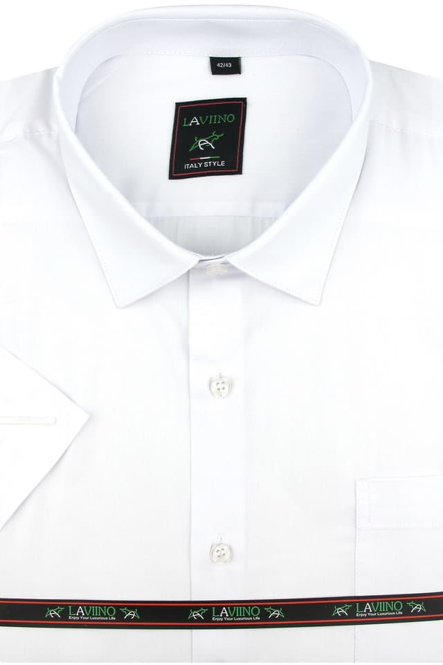 Koszula Męska Laviino gładka biała na krótki rękaw w kroju REGULAR K941