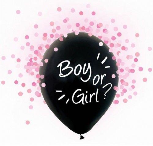 Balony na Gender Reveal Party, Boy or Girl, różowe konfetti
