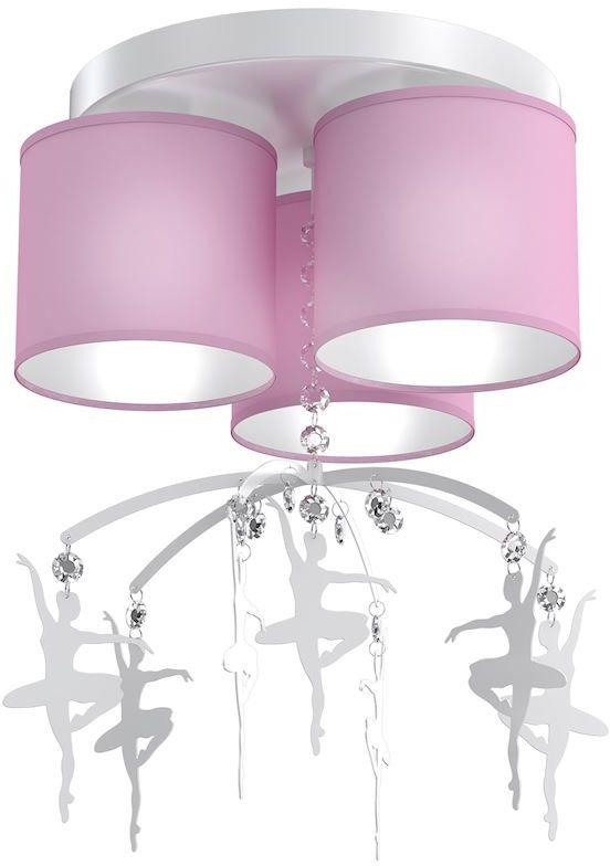 Milagro BALETNICA PINK MLP4973 plafon lampa sufitowa glamour abażur tkanina różowy kryształki baletnice 3xE27 36cm