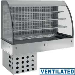 Regał chłodniczy 3-poziomowy wentylowany z zasłoną 3x GN 1/1 do zabudowy 900W 230V -1  +7  1125x700x(H)1400mm