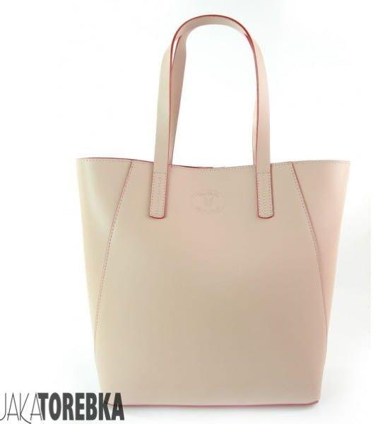 Duża torba shopper bag - włoska skóra naturalna Pudrowy
