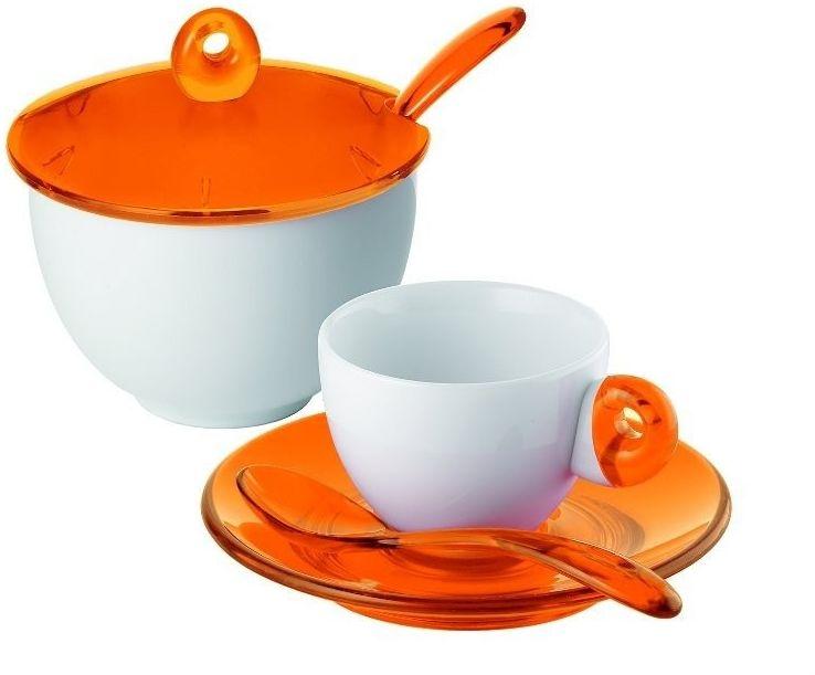 Guzzini - komplet 2 filiżanek do espresso i cukiernica - art & cafe - pomarańczowe